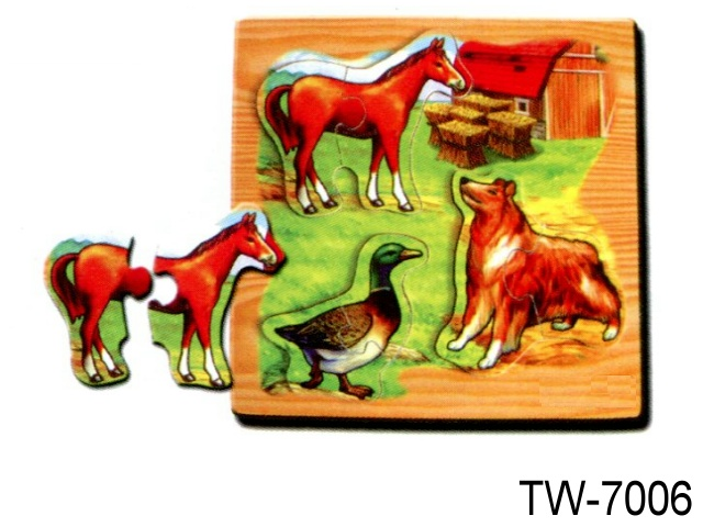 SOLID WOODEN PUZZLE HORSE
